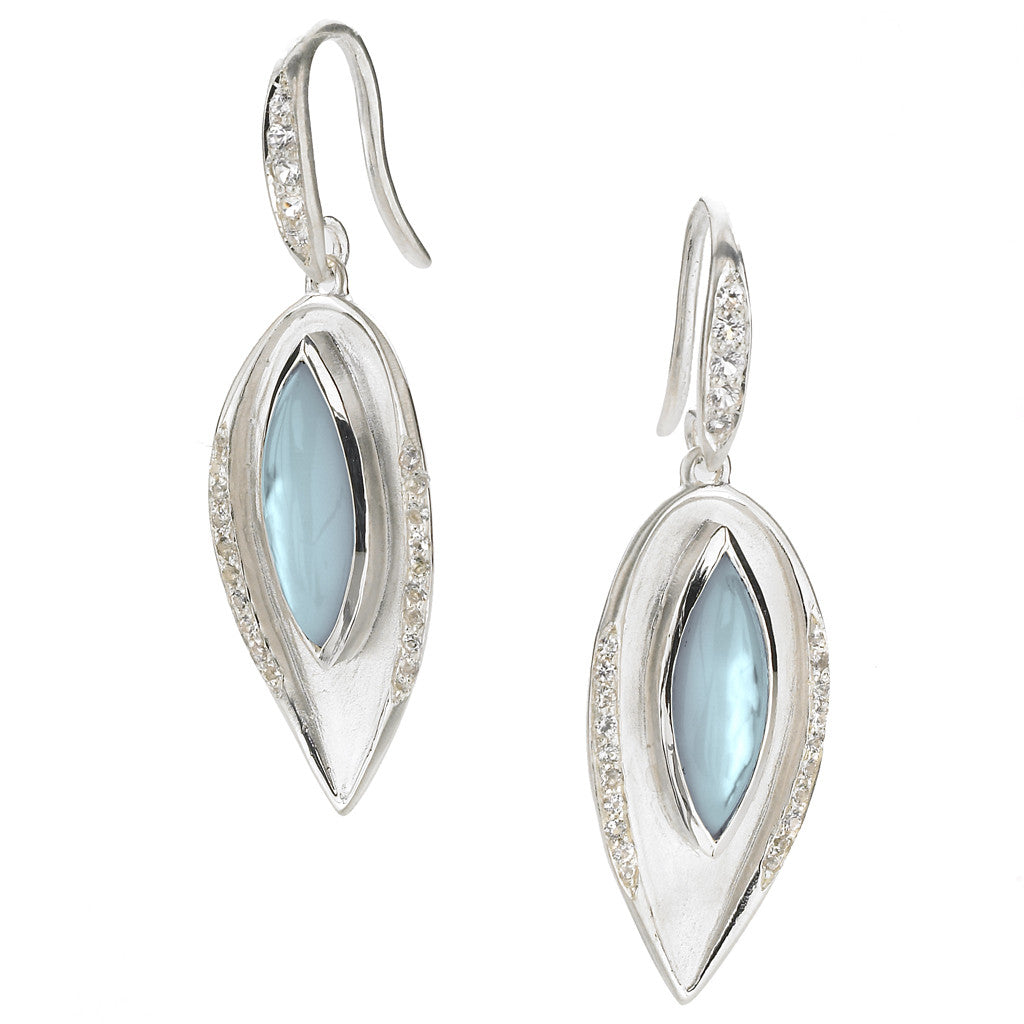 *SPECIAL ORDER* Drew Leaf Earring in Blue Topaz over Mother of Pearl in Silver - USE CODE SPECIALORDER50 and only pay a 50% deposit of $262.50