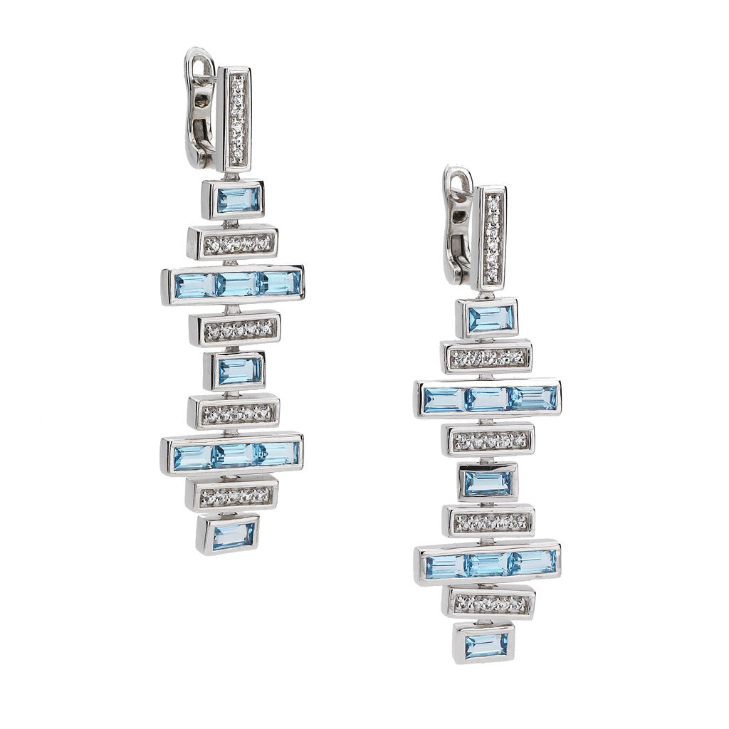 Deco Traintrack Earrings in Swiss Blue Topaz in Sterling Silver - Special Order