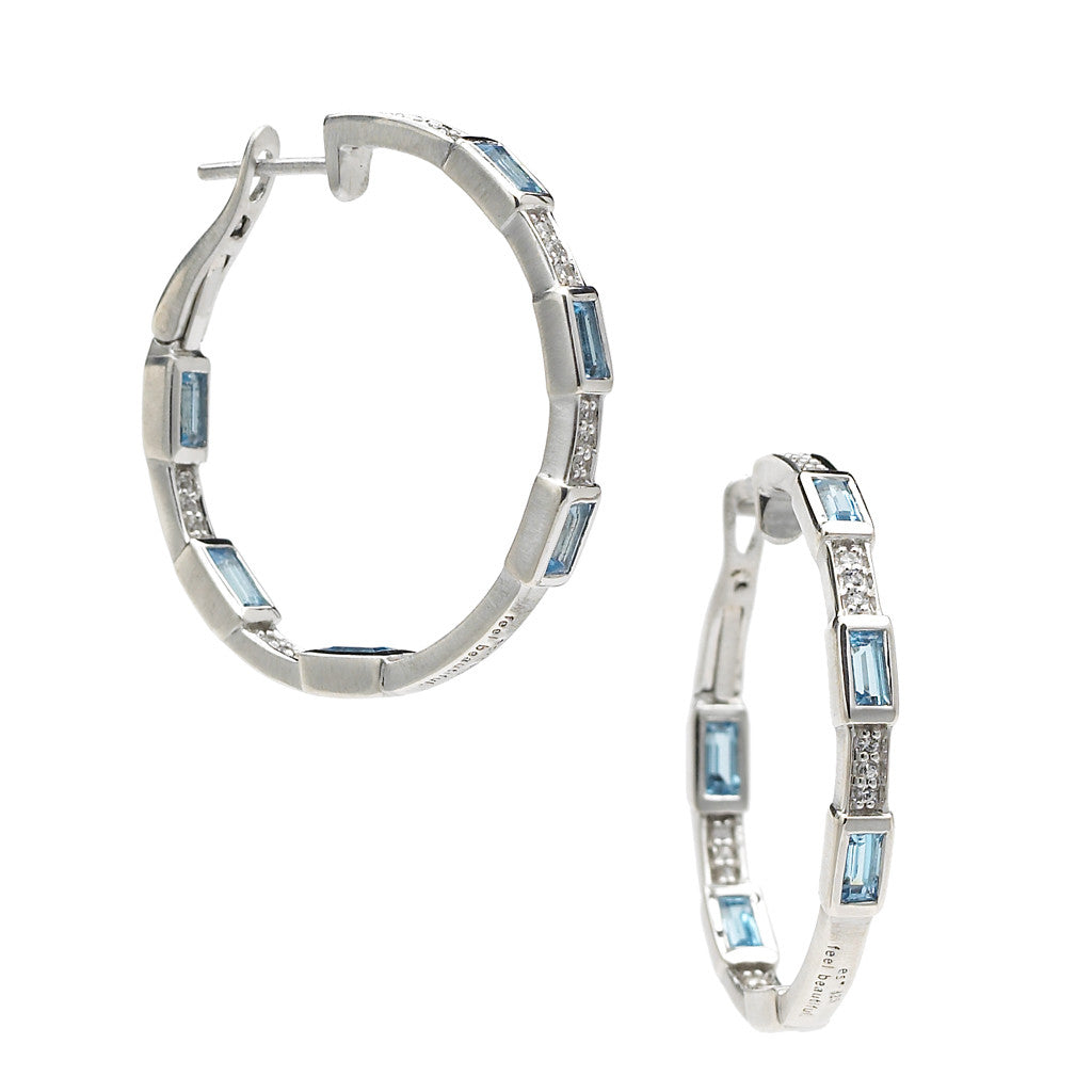Deco Hoops with Swiss Blue Topaz Baguettes & White Sapphires in Sterling Silver