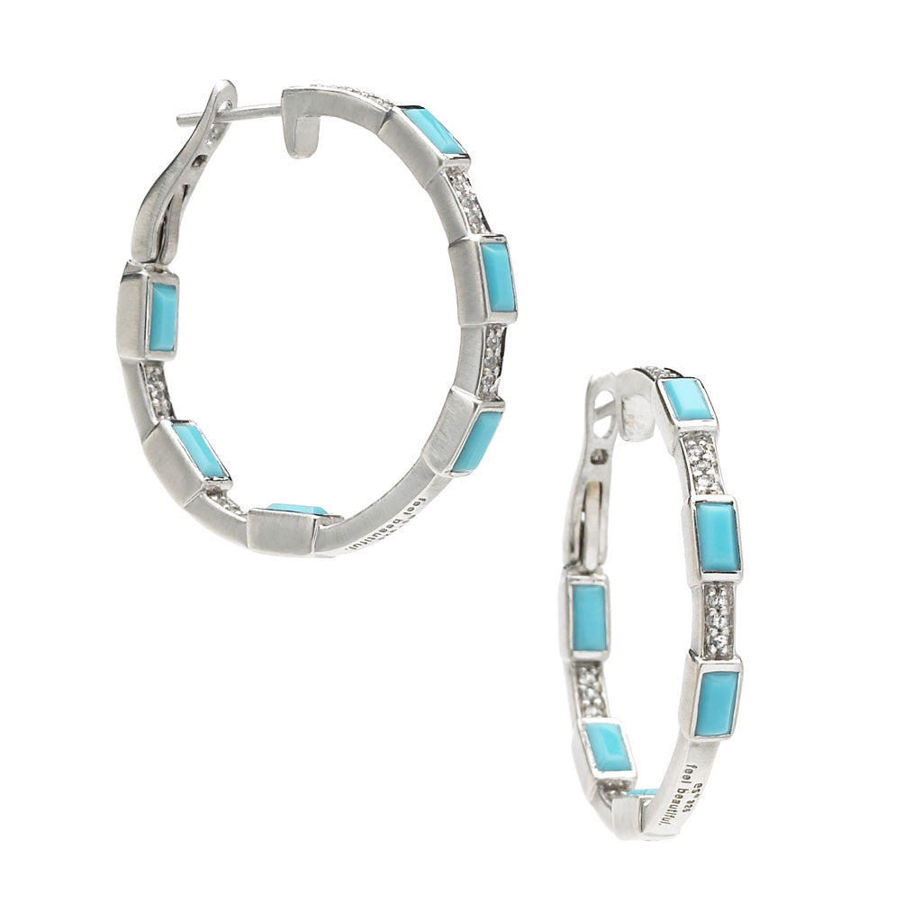 *SPECIAL ORDER* Deco Baguette Hoop Earrings in Turquoise - Sterling Silver - USE CODE SPECIALORDER50 and only pay a 50% deposit of $237.50