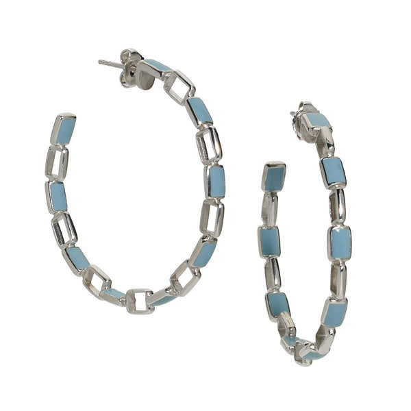 Turquoise Enamel Deco Chain Link Earrings - USE CODE SPRING30 FOR AN EXTRA 30% OFF