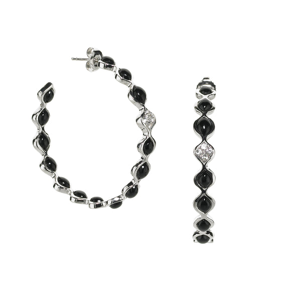 Large Simone Eternity Hoops in Black Onyx in Silver