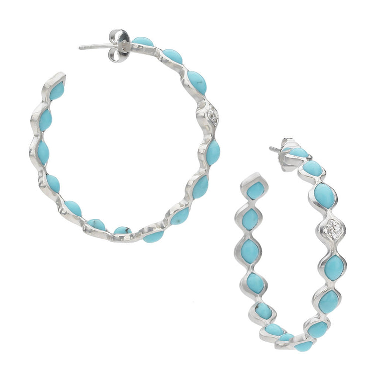 *SPECIAL ORDER* Sterling Silver Large Simone Eternity Hoops in Kingman Mine Turquoise in Silver - USE CODE SPECIALORDER50 and only pay a 50% deposit of $282.50