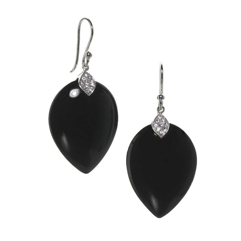 Susanna Earrings in Black Onyx & White Sapphire in Sterling Silver