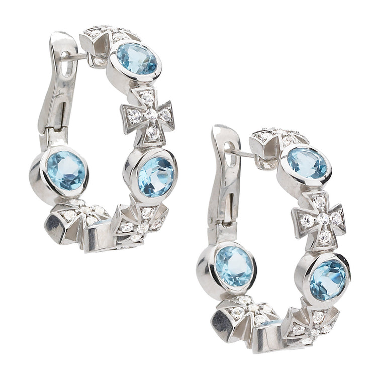 Maltese Hoop Earrings in Blue Topaz in Sterling Silver - PRICE IS $265 WHEN YOU USE CODE HOORAY50 FOR AN EXTRA 50% OFF - Newly Added