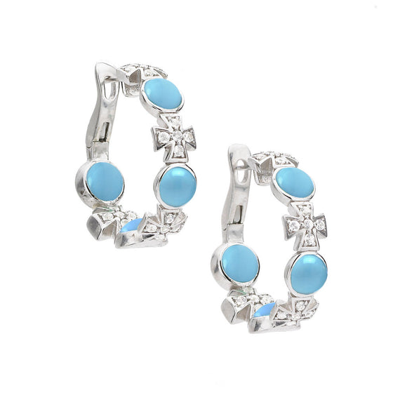 Maltese Hoop Earrings in Turquoise - PRICE IS $265 WHEN YOU USE CODE HOORAY50 FOR AN EXTRA 50% OFF - Newly Added