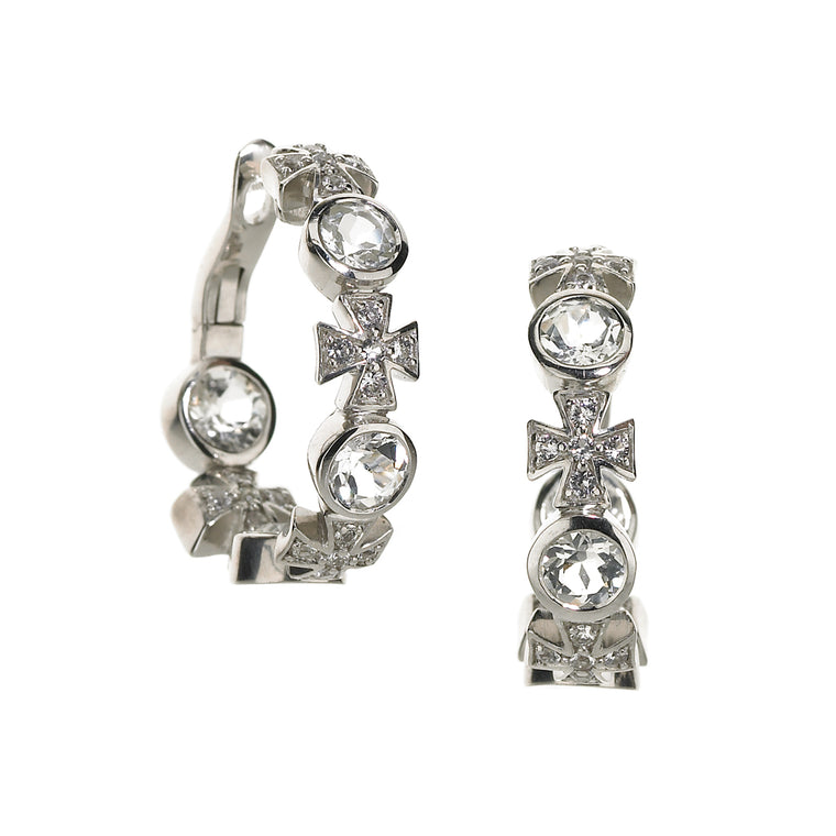 *SPECIAL ORDER* Maltese Hoop Earrings in White Topaz in Silver - USE CODE SPECIALORDER50 and only pay a 50% deposit of $242.50