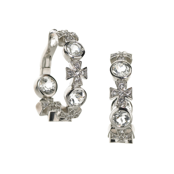 Maltese Hoop Earrings in White Topaz in Sterling Silver - PRICE IS $262.50 WHEN YOU USE CODE HOORAY50 FOR AN EXTRA 50% OFF - Newly Added