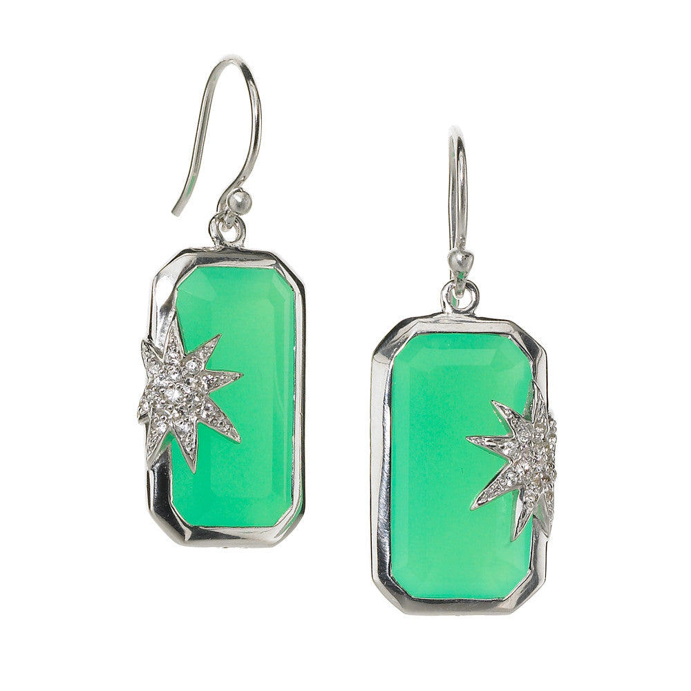 Hope Star Deco Earrings in Chrysoprase & White Sapphires in Sterling Silver - Special Order