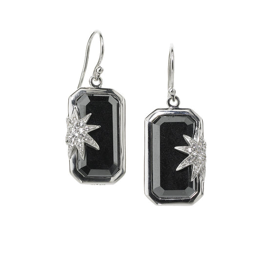 Hope Star Deco Earrings in Hematite in Sterling Silver - Special Order
