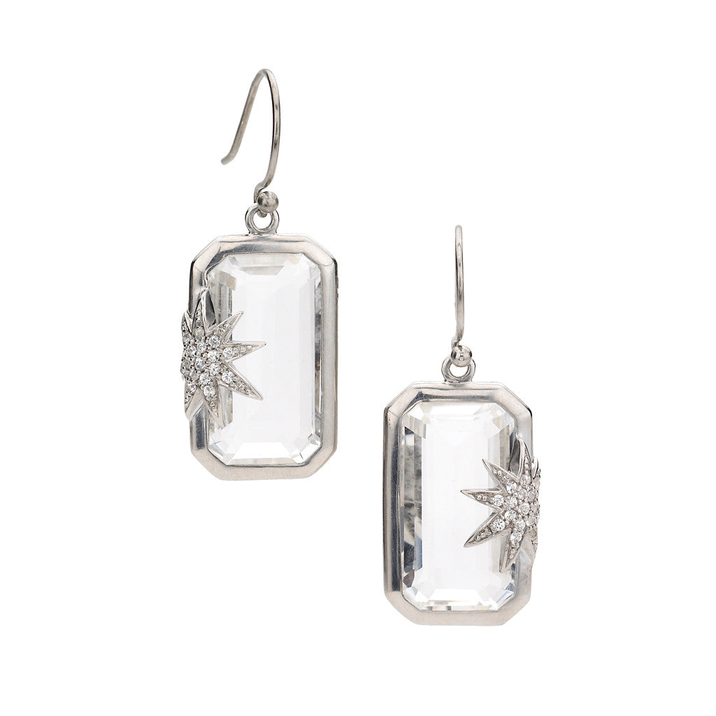 Hope Star Deco Earrings in White Quartz & White Sapphires in Sterling Silver