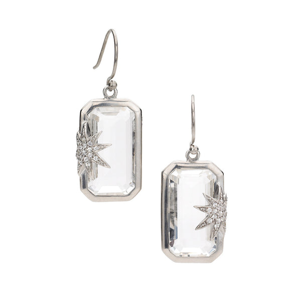 Hope Star Deco Earrings in White Quartz & White Sapphires in Sterling Silver - Newly Back in Stock