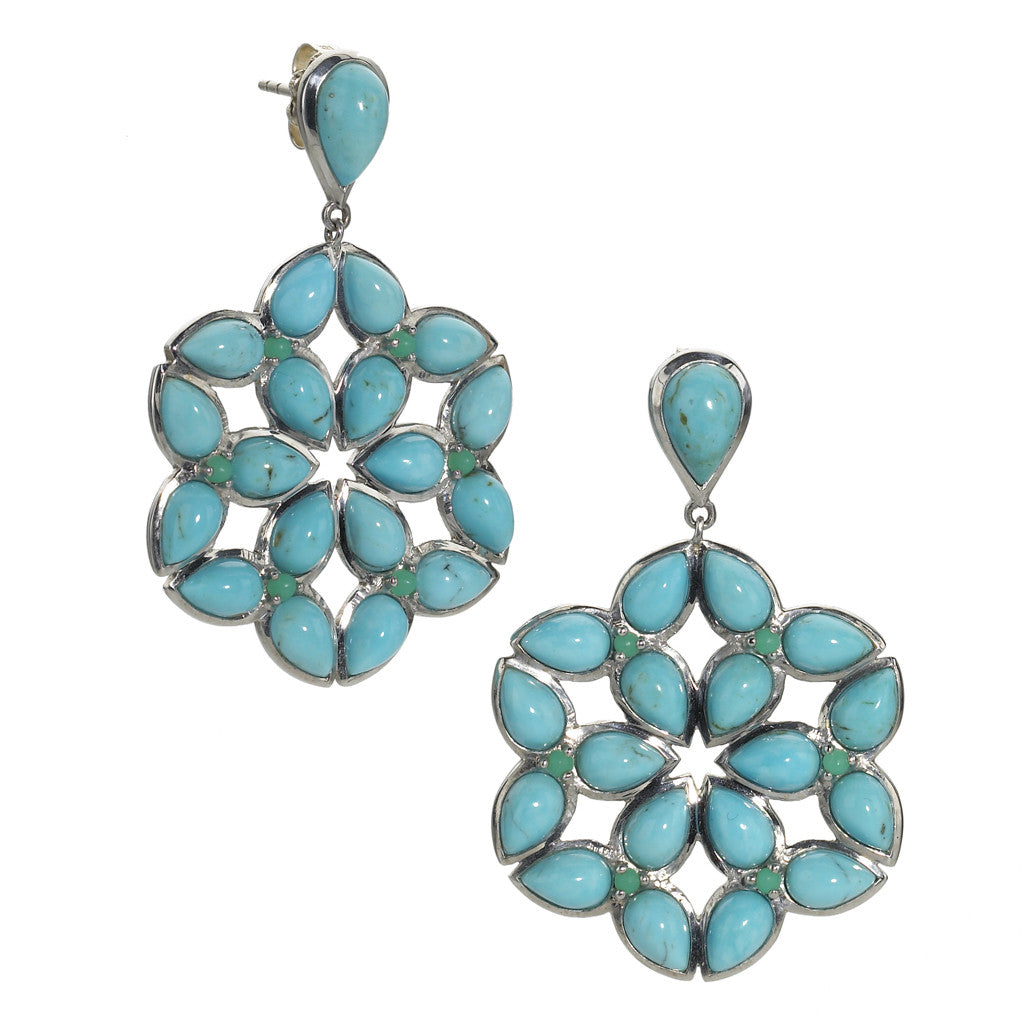 Mariposa Kaleidoscope Earrings in Kingman Mine Turquoise in Sterling Silver