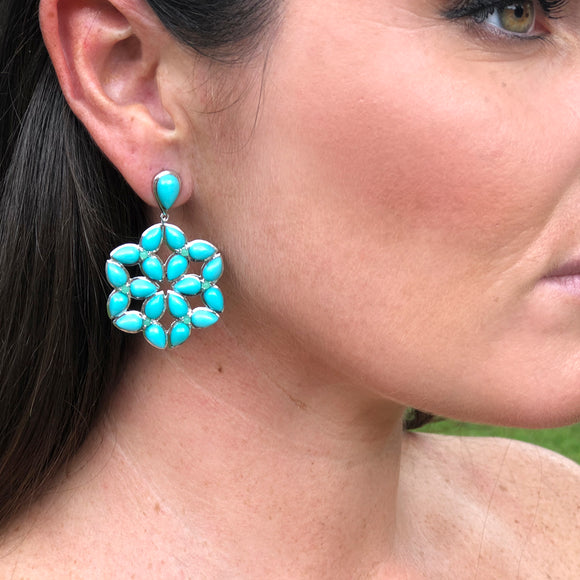 *SPECIAL ORDER* Mariposa Kaleidoscope Earrings in Kingman Mine Turquoise in Sterling Silver  - USE CODE SPECIALORDER50 and only pay a 50% deposit of $447.50