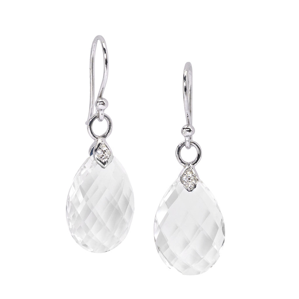 Eliza Droplet Earrings in White Quartz in Silver