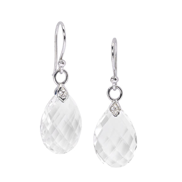 Eliza Droplet Earrings in White Quartz in Silver - PRICE IS $127.50 - USE CODE SUMMER50