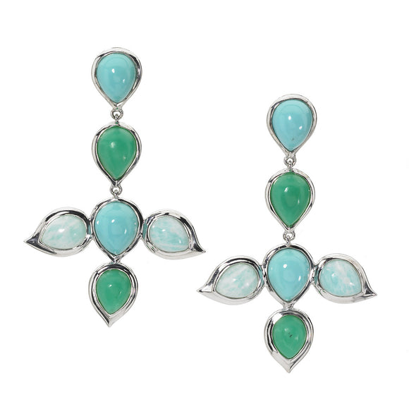 Miranda Earrings in Turquoise, Chrysoprase & Amazonite - Sterling Silver - Newly Added
