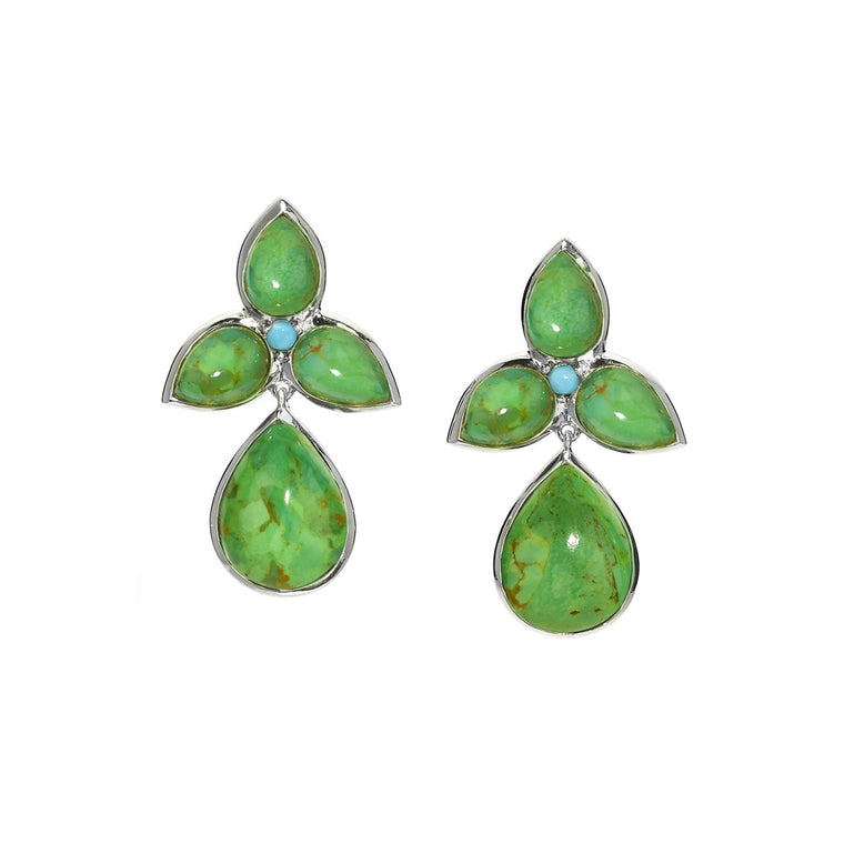 Mariposa Drop Earrings in Green Turquoise - Sterling Silver - Newly Added
