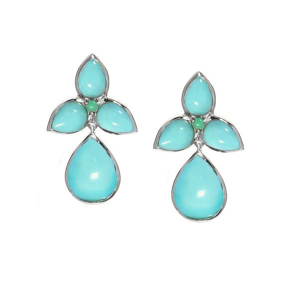 *SPECIAL ORDER* Mariposa Post & Drop Earrings in Kingman Mine Turquoise in Sterling Silver - USE CODE SPECIALORDER50 and only pay a 50% deposit of $212.50