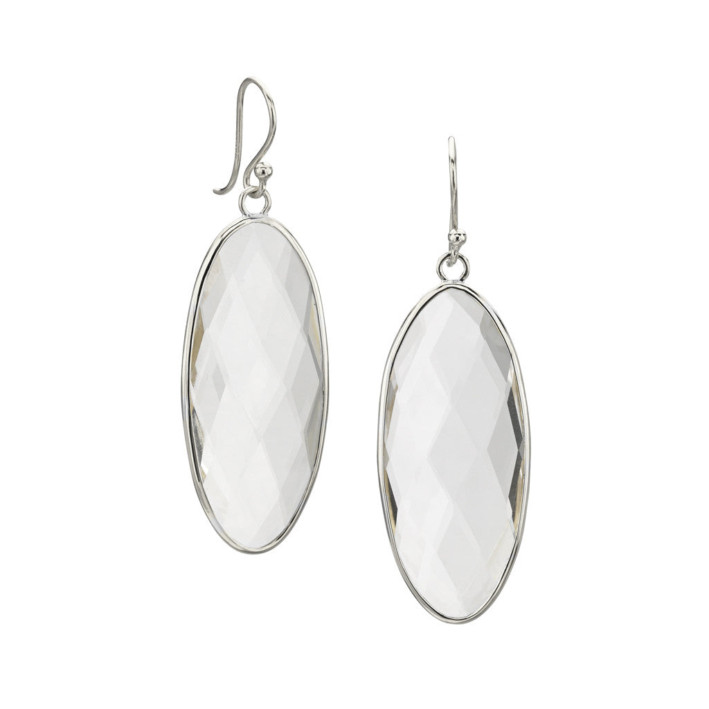 Shortboard Surfer Earrings in White Quartz in Sterling Silver