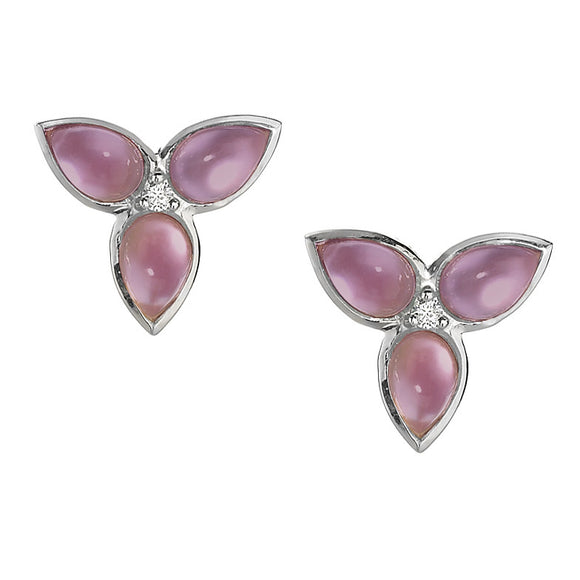 *SPECIAL ORDER* Mariposa Repose Earrings in Created Amethyst over Mother of Pearl & White Sapphires in Sterling Silver - USE CODE SPECIALORDER50 and only pay a 50% deposit of $187.50