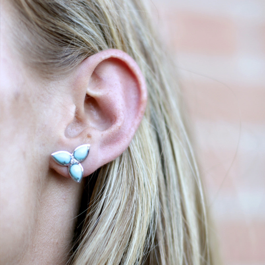 Mariposa Repose Post Earrings in Kingman Mine Turquoise & White Sapphires in Sterling Silver - Newly Added