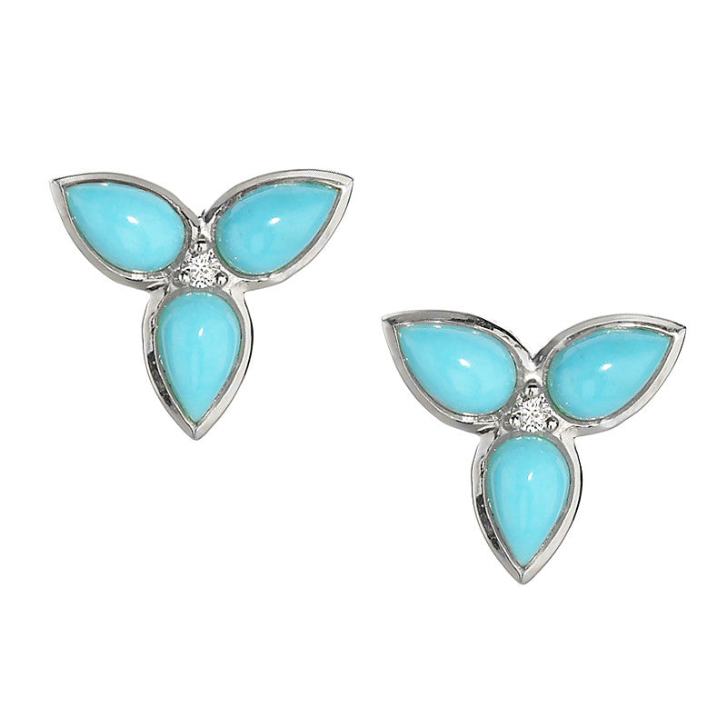 Mariposa Repose Post Earrings in Turquoise & White Sapphires in Silver