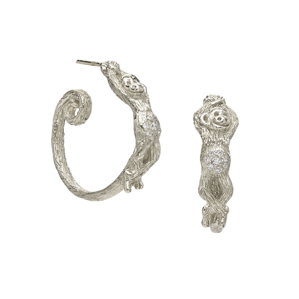Monkey See, Monkey Do Hoops in Sterling Silver