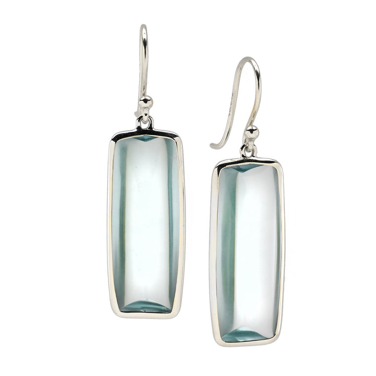 *SPECIAL ORDER* Beveled Deco Earrings in Teal Aquamarine Hydroquartz & Silver - USE CODE SPECIALORDER50 and only pay a 50% deposit of $172.50
