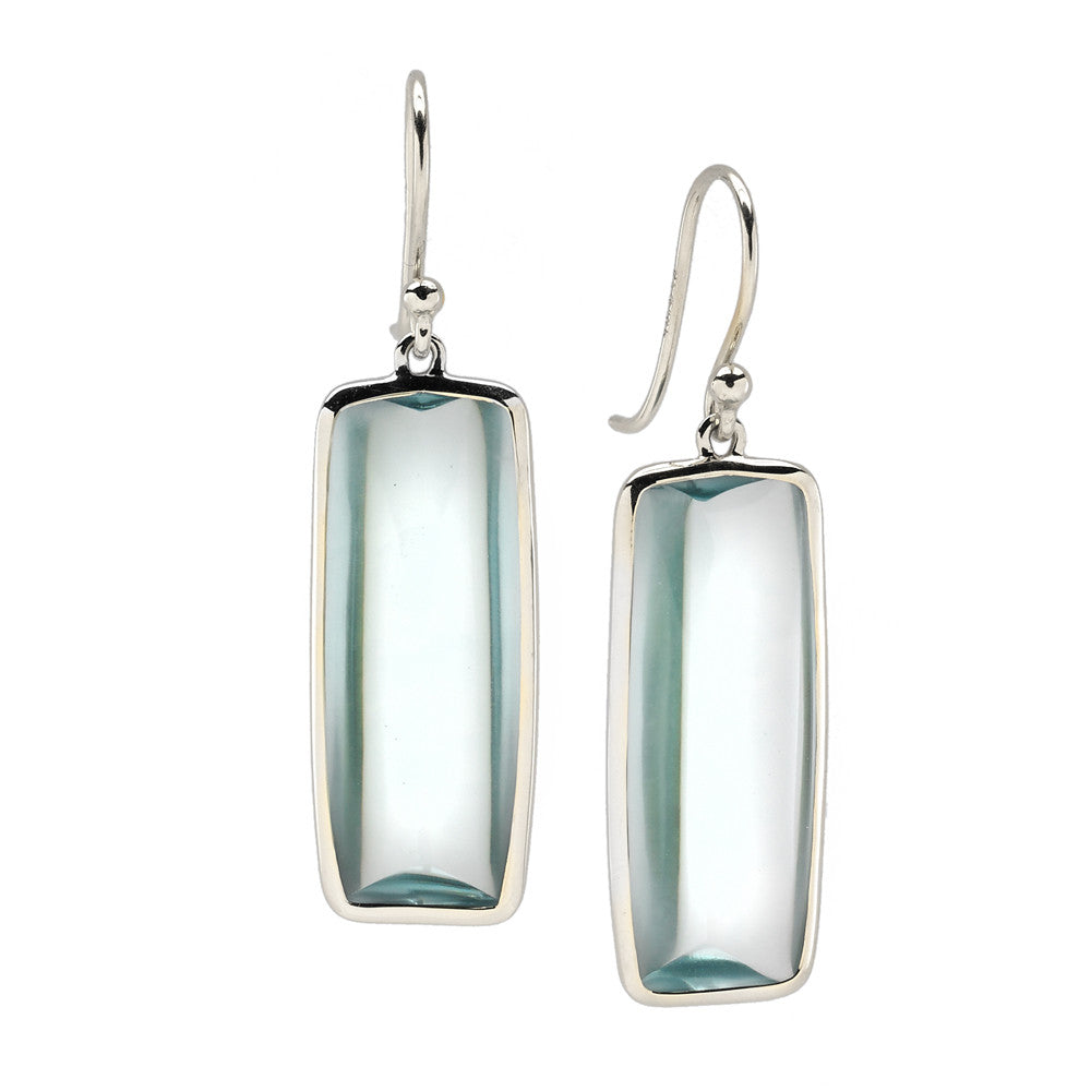 Beveled Deco Earrings in Teal Aquamarine Hydroquartz - New in Silver