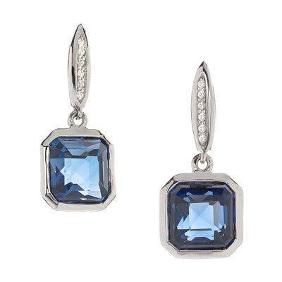 Asscher Cut London Blue Sapphires on White Sapphire Posts in Sterling Silver - USE CODE SPRING30 FOR 30% OFF