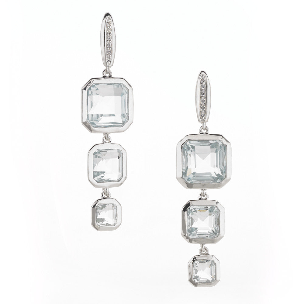 Asscher Cut Triple Drop Ocean Blue Quartz on White Sapphire Posts in Sterling Silver