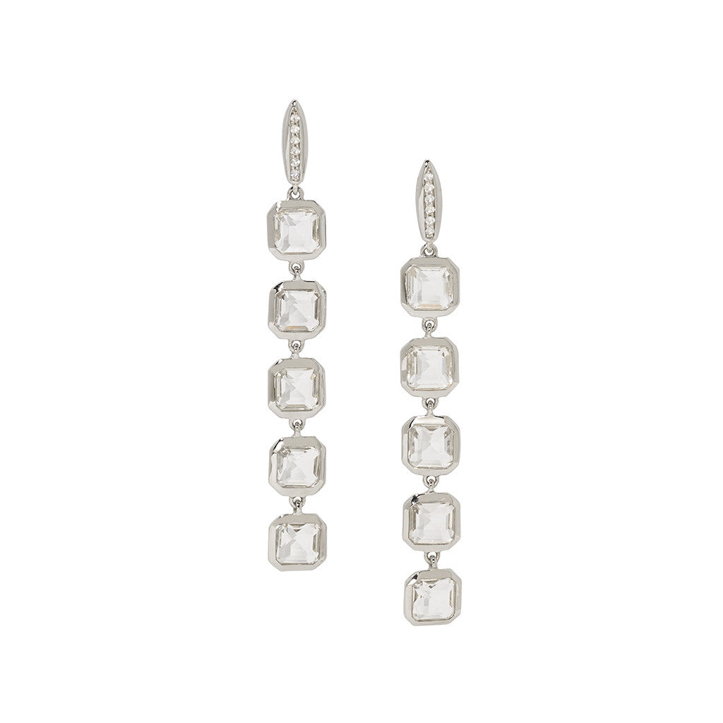 *SPECIAL ORDER* Asscher Cut White Quartz Stiletto Earring on White Sapphire Posts in Sterling Silver - USE CODE SPECIALORDER50 and only pay a 50% deposit of $182.50