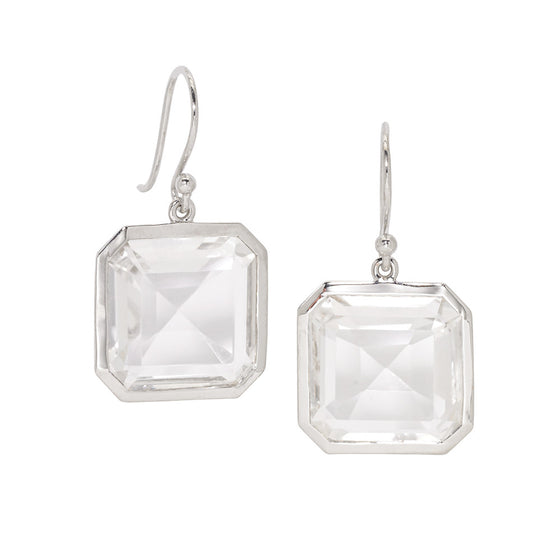 Asscher Cut White Quartz Drop Earrings in Sterling Silver - USE CODE HOORAY50 FOR AN EXTRA 50% OFF