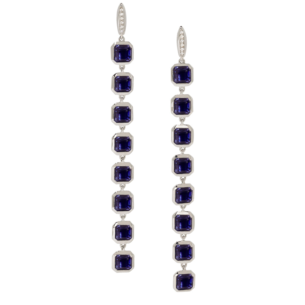 Asscher Stiletto Earrings in Created London Blue Sapphires on White Sapphire Posts in Silver