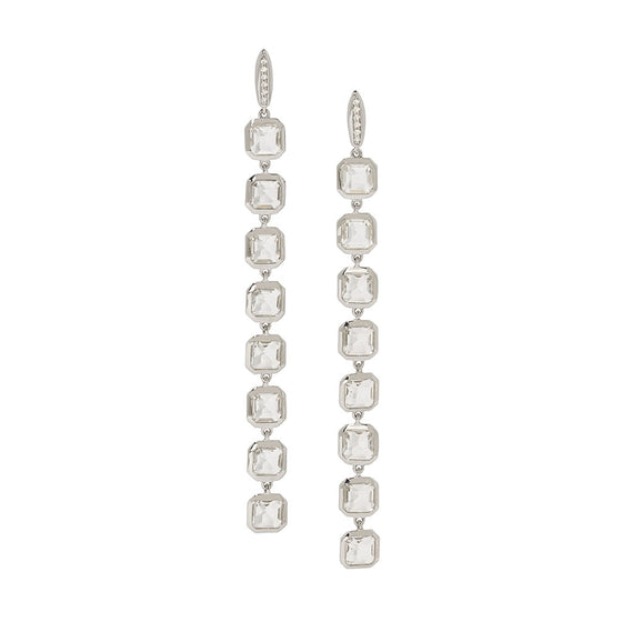Asscher Cut Long Stiletto Earrings in White Quartz on White Sapphire Posts in Sterling Silver - USE CODE SPRING30 FOR 30% OFF