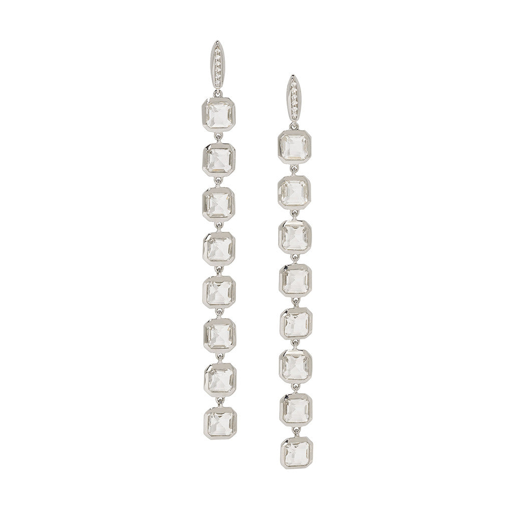 Asscher Cut Long Stiletto Earrings in White Quartz on White Sapphire Posts - Sterling Silver