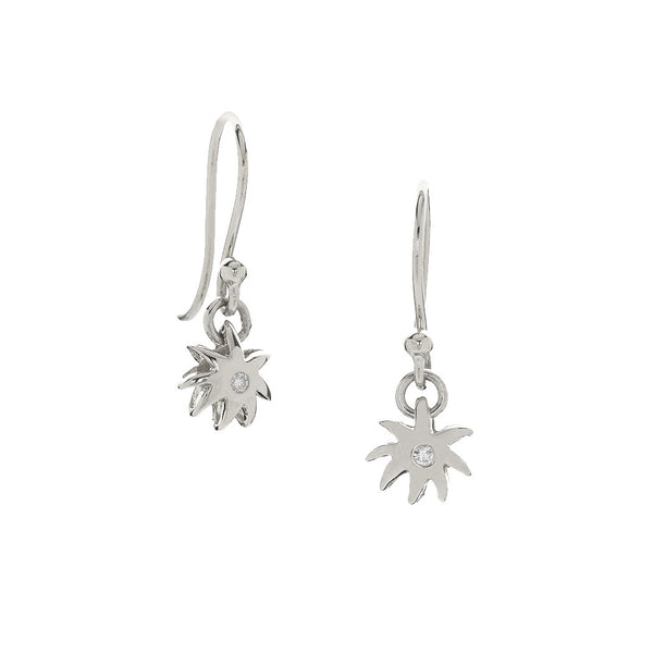 Single Wish Earrings - Sterling Silver & White Sapphires - USE CODE HOORAY50 FOR AN EXTRA 50% OFF