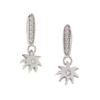 Single Wish Earring on White Sapphire Wishing Post - Sterling Silver & White Sapphires - USE CODE SPRING30 FOR AN EXTRA 30% OFF