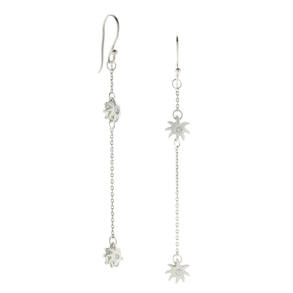 Double Wish Earrings - Sterling Silver & White Sapphires - USE CODE SPRING30 FOR AN EXTRA 30% OFF