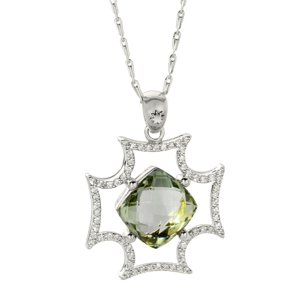 White Sapphire Maltese Cross Pendant Necklace with a Beautiful Cushion Cut Green Amethyst in Silver