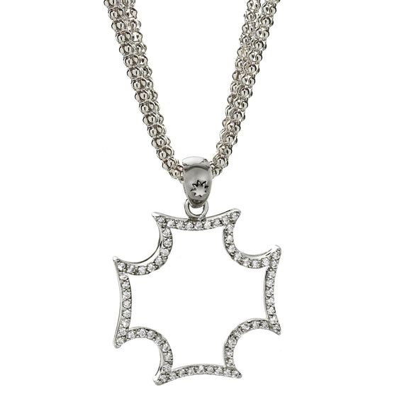Maltese Cross & Pave White Sapphire Necklace in Silver - USE CODE THEEND50 TO BUY FOR $198