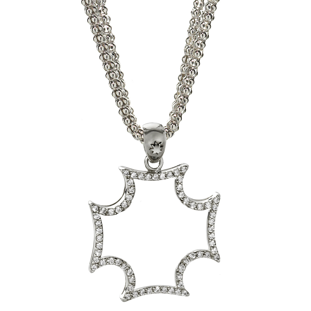 *SPECIAL ORDER* Maltese Cross & White Sapphire Pendant Necklace in Silver- USE CODE SPECIALORDER50 to only pay a 50% deposit of $197.50