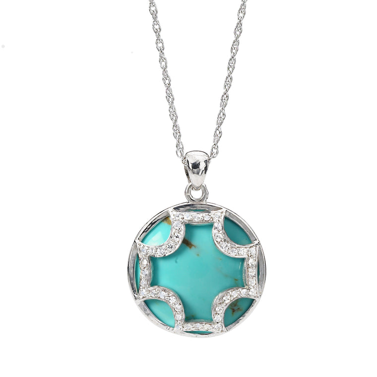 Maltese Cross Necklace in Kingman Mine Turquoise *TAKE 25% OFF WITH CODE MALTESE25, $281 AFTER CODE