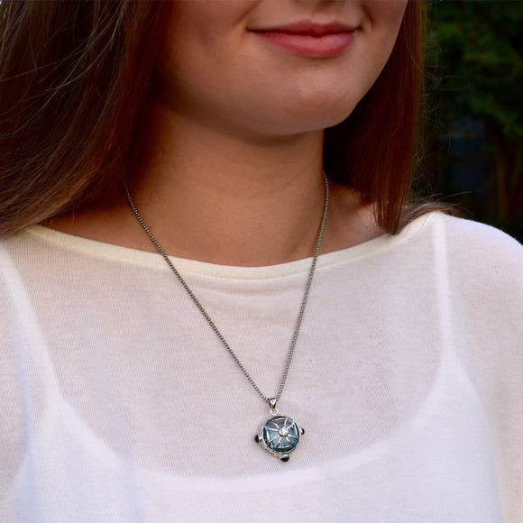 Maltese Cross Sphere Necklace in Ocean Blue Quartz in Silver - NECKLACE IS $318.75 USE CODE JOY25