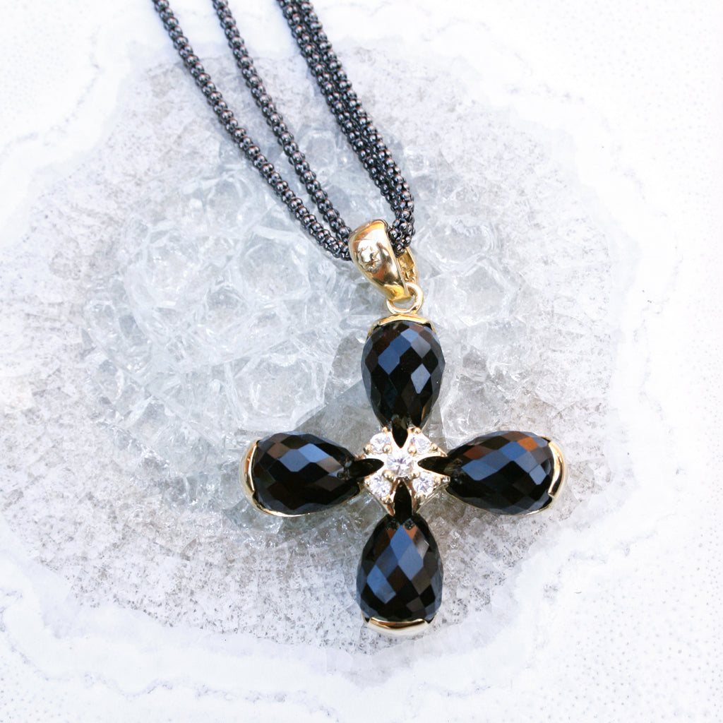 *SPECIAL ORDER* Maltese Briolette Pendant in Black Onyx & Sapphires in 14kt Gold Over Sterling Silver or in All Sterling Silver - USE CODE SPECIALORDER50 and only pay a 50% deposit of $197.50 for All Silver Version