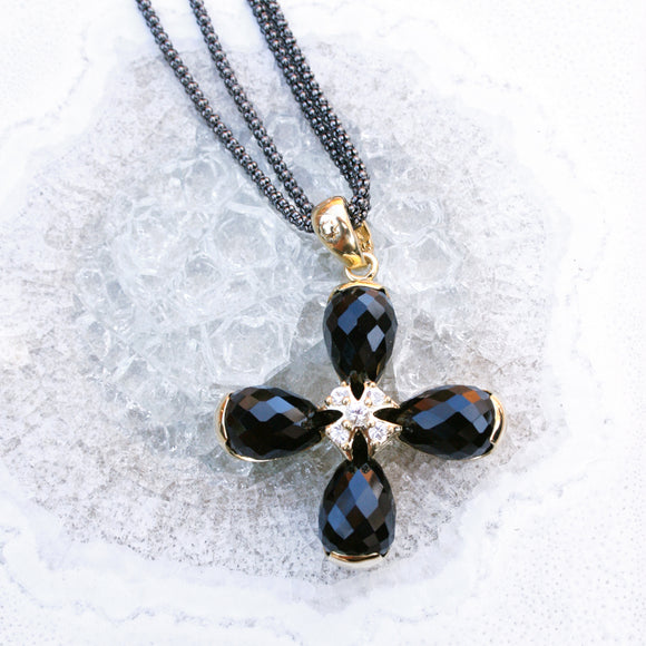 *SPECIAL ORDER* Maltese Briolette Pendant in Black Onyx & Sapphires in 14kt Gold Over Sterling Silver - USE CODE SPECIALORDER50 and only pay a 50% deposit of $217.50