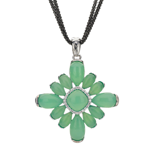 Sophia Pendant Necklace in a Deep Green Chrysophrase & White Sapphires - Sterling Silver - Newly Added