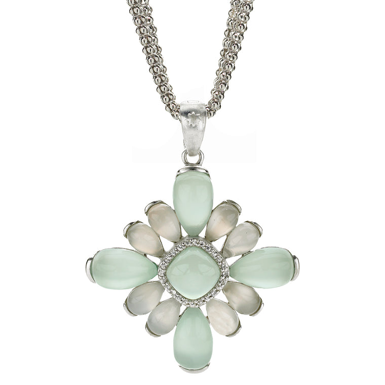*SPECIAL ORDER* Sophia Pendant in Seafoam Chalcedony, White Moonstone & White Sapphire in Sterling Silver - USE CODE SPECIALORDER50 and only pay a 50% deposit of $367.50