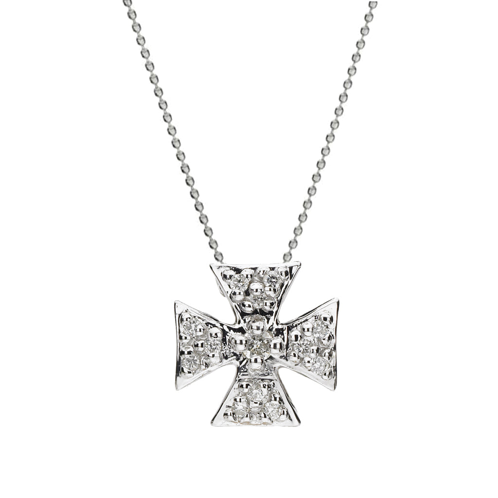 Mini Maltese Cross Necklace with White Sapphires in Silver